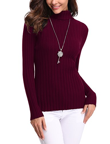Ribbed Turtleneck Womens - Abollria Women's Long Sleeve Solid Lightweight Soft Knit Mock Turtleneck Sweater Tops Pullover Wine Red