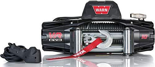 "WARN 103252 VR EVO 10 Electric 12V DC Winch with Steel Cable Wire Rope: 3/8"" Diameter x 90' Length, 5 Ton (10,000 lb) Lifting/Pulling Capacity"