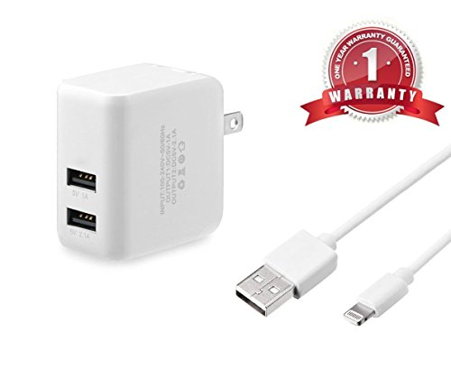 ESK 10FT 8 Pin Lightning USB Charging Cable with 3.1A Dual Port High Speed USB Wall Charger