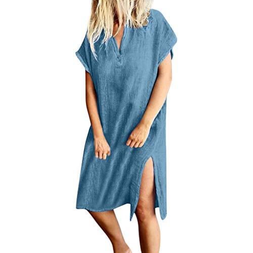 2019 Women's Casual V-Neck Dresses | Summer Loose Short Sleeve Solid Knee-Length Split Sundress for Ladies (Best Suction Pool Cleaner 2019)