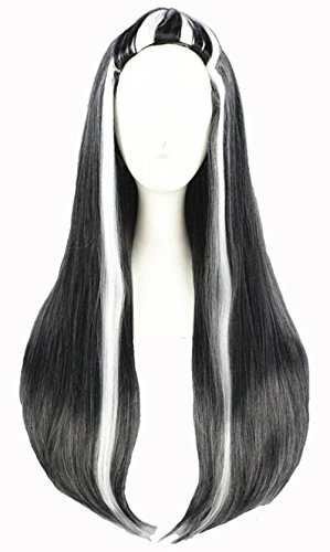 MRealGal Long Straight Synthetic Hair Unisex Black White Cosplay Party Costume Wig (Black Mixed White)