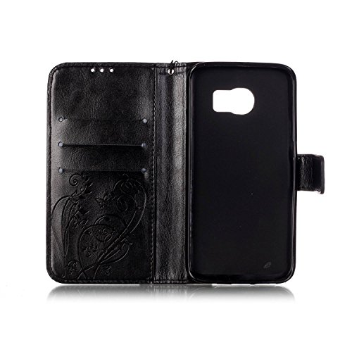 Samsung Galaxy S6 Edge Plus Hülle Leder,Samsung Galaxy S6 Edge Plus Hülle Flip Case,Galaxy S6 Edge Plus Case,Galaxy S6 Edge Plus Cover,EMAXELERS Samsung Galaxy S6 Edge Plus PU Leder Wallet Brieftasche Diamond Butterfly 8