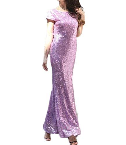 Coolred-femmes Sequin Queue De Poisson Évider Sirène Élégante Collier Piles Longue Robe Maxi Violet