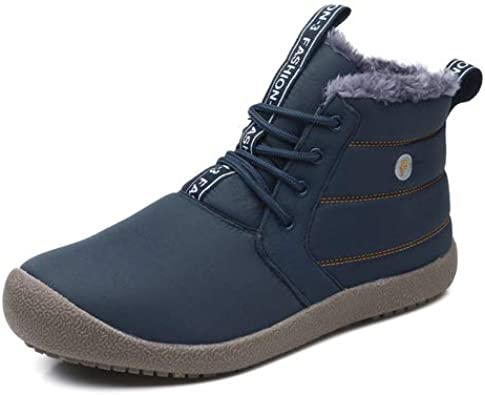 Mens Snow Boots Slip on Winter Boots Fully Fur Lined Ankle Booties Outdoor Shoes