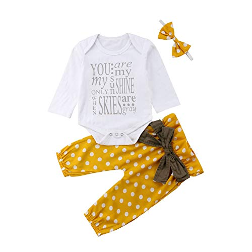 Baby Girls Flying Long Sleeve Romper Tops Denim Jeans High Waist Pants Bow Tie Waistband 2 PCS Outfits (6-12 Months, Yellow)