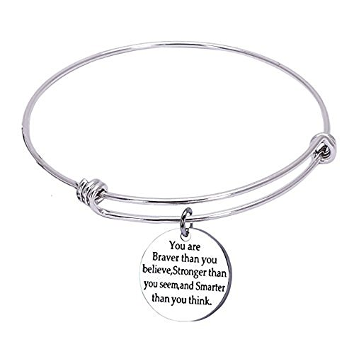 1MATCH You Are Braver than You Believe Stainless Steel Adjustable Bangle Bracelets,Cuff ()