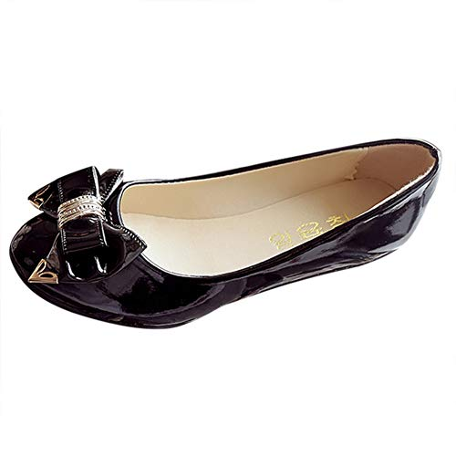 Women Patent Leather Flats Bowknot Slip-on Flats Pumps Shoes by Lowprofile Black