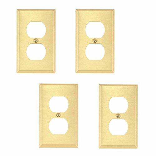 Brass Switchplate Double Outlet Cover Traditional Design Set Of 4 - Cover Solid Brass Switchplate