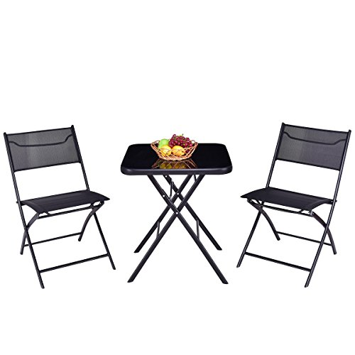 Good concept 3 pc Outdoor Patio Folding Square Table Chair Suit Set Bistro Backyard Yard Garden by Good concept