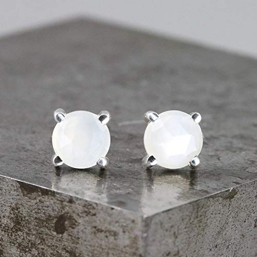 Sterling Silver Stud Earrings with Rose Cut 6mm White Moonstone