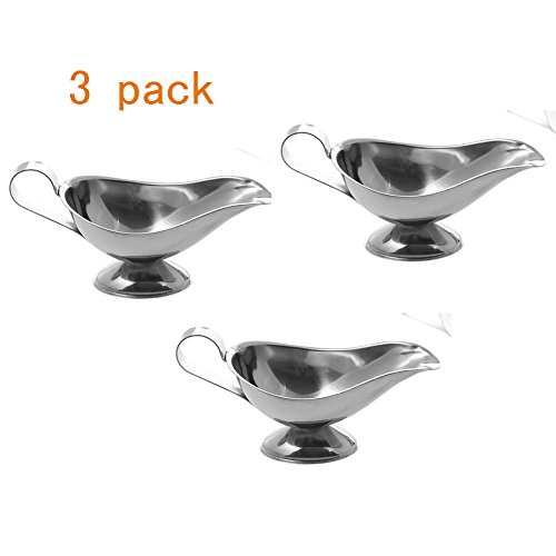 (Stainless Steel 3 OZ Gravy Boat Juice Bucket Dish Roasting Sauce Dish 3 Pack)