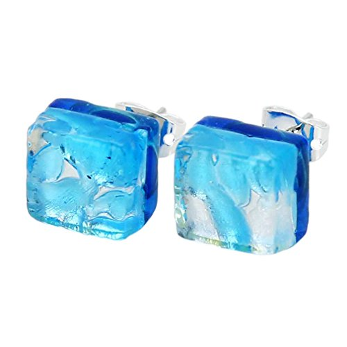 - GlassOfVenice Murano Glass Venetian Reflections Square Stud Earrings - Aqua Silver