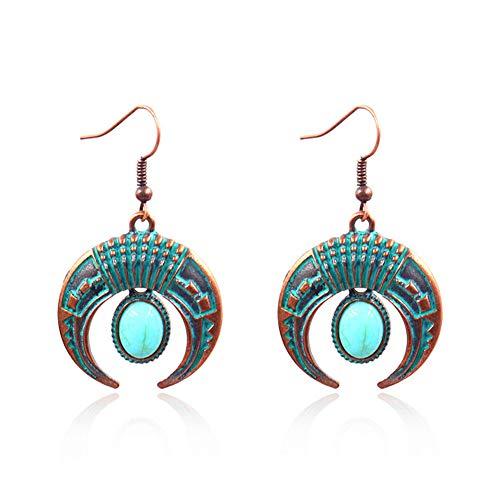 Bohemia Vintage Crescent Moon Hook Earrings Faux Turquoise Double Horn Shape Dangle Drop Earrings for Women Girls Jewelry Gift