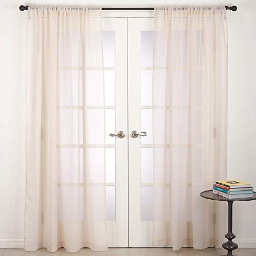 Fennco Styles Elegant Semi Sheer Home Décor Rod Pocket Window Curtain Single 1 Panel for Bedroom, Living Room, Patio Door Backing Sliding Glass Door Drape, 54 Inches W x 96 Inches L, Ecru (Creative Window Treatments For Sliding Glass Doors)