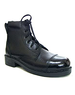 amazon com asm black genuine leather parade boots with memory foam
