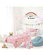 Uozzi Bedding 4 Piece Unicorn Toddler Bedding Set with Rainbow Stars Pink - Includes Adorable Toddler Size Quilted Comforter, Fitted Sheet, Top Sheet, and Pillow Case - Cute Design for Baby Girls