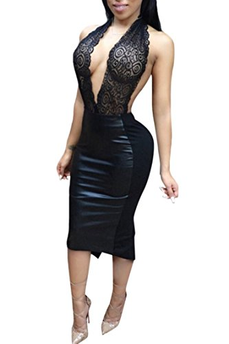 Buy faux leather halter dress - 5
