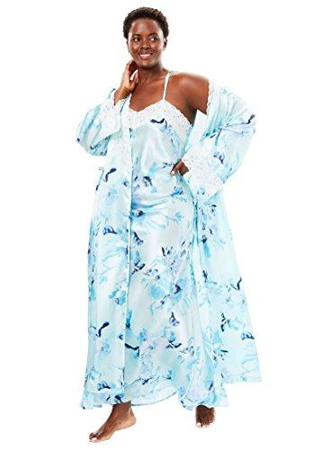 Stretch Satin Set (Amoureuse Women's Plus Size Long Satin Peignoir Set Fresh Aqua Floral,2X)