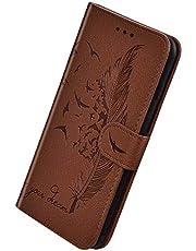 Herbests Compatible con Huawei Honor 9X Pro Funda de PU Protectora de Cartera de Cuero Funda con Tapa Flip Case Antigolpes Anti-Slip Delgada Funda en Relieve Feather Case Cover,Marrón