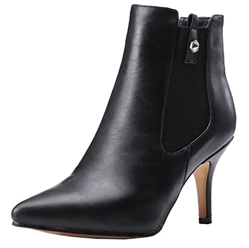 Stilettos Inside Black High Toe SHOWHOW Zipper Boots Casual Pointy Women's Ankle qnOwOXZB