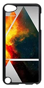 Fashion Customized Case for iPod Touch 5 Generation Black Cool Plastic Case Back Cover for iPod Touch 5th with Space Triangles