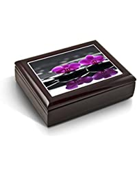 A Zen-Like Setting With Purple Orchids Tile Musical Jewelry Box - English Country Garden
