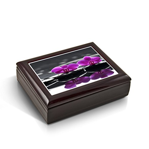 A Zen-Like Setting With Purple Orchids Tile Musical Jewelry Box - .0 Holy Night by MusicBoxAttic