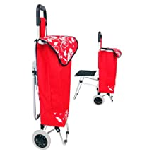 """36"""" Rolling Shopping Utility Cart with Folding Chair (Color May Vary)"""