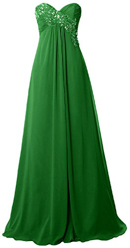MACloth Women Strapless Empire Long Prom Dress Chiffon Formal Party ...