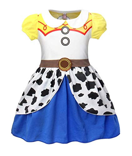 MetCuento Jessie Costume for Girls Cowgirl Dress Up Short Sleeve School Party Performance Halloween Cosplay T-Shirt Dress, 2T -