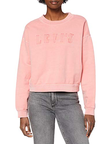 Levi's Graphic Diana Crew Sudadera, Serif Outline Garment Dye Blush, L para Mujer