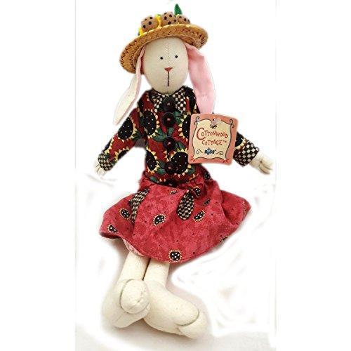 Russ Berrie Cottonwood Cottage Handcrafted Garden Rabbit Doll in Sunflower Dress No. ()