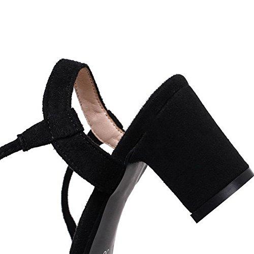 à VogueZone009 Talon Sandales CCAFLO013642 d'orteil Correct Femme Noir Suédé Ouverture Lacet ppwqa14P