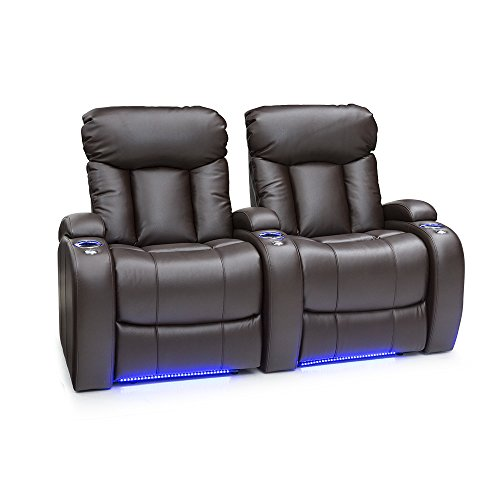 Seatcraft Orleans Home Theater Seating Power Recline Leather Gel (Row of 2, Brown) (Home Chair Entertainment Gaming)