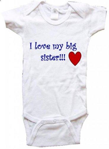 I LOVE MY BIG SISTER - BigBoyMusic Baby Designs - White Baby One Piece Bodysuit - size Small (6M)