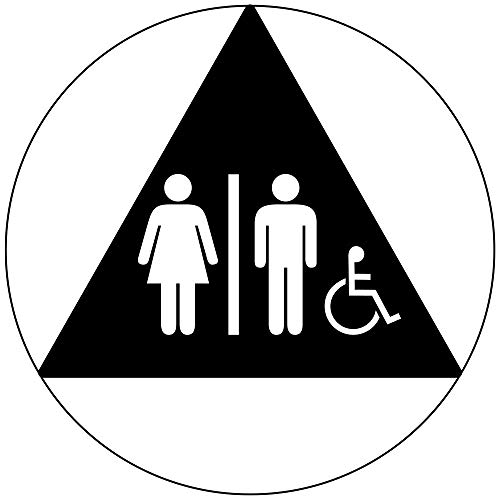 Unisex + International Symbol of Accessibility Sign, 12 in. Black Acrylic for Restrooms by ComplianceSigns ()