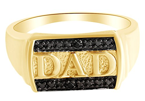 Black Natural Diamond Accent Dad Band Ring in14k Yellow Gold Over Sterling Silver (0.01 Cttw) Ring - Diamond Ring Dad Accent