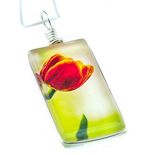 "Flower Necklace, Handmade Glass Tulip Pendant on 18"" Sterling Silver Chain, Jewelry for Women"