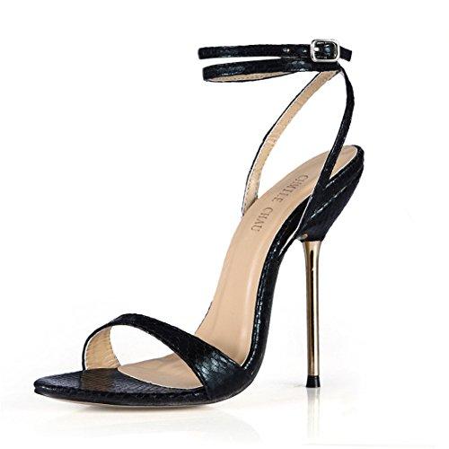 Tacco Scarpe Tacco Spillo Metallo Sexy Moda Caviglia Cinturino Alto CHAU Donna Nero da Partito CHMILE a Sandali snakeskin a alla nXwRq45wxz