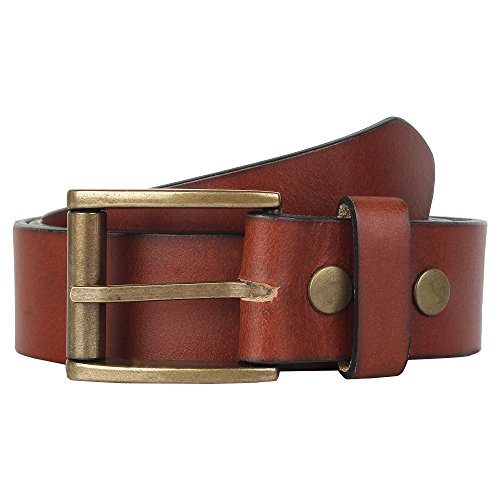 1.75 Inch Leather Casual Belt - 36-40 inch Handmade Genuine Full Grain Leather Adjustable Belt Gift for Men Teen Boy ~ Everyday Office College School ~ Fashion Causal Formal Dress ~ Brown