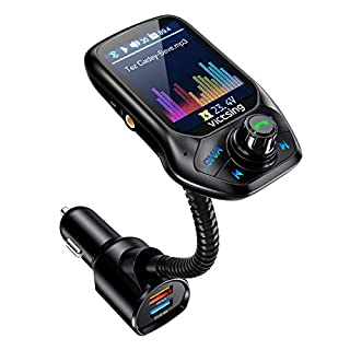 "VicTsing (Upgraded Version) Bluetooth FM Transmitter, Auto Scan Unused Station Bluetooth Audio Adapter for Car with 1.8"" Color Screen, QC 3.0, EQ Modes, Aux, Hands-Free Calls"