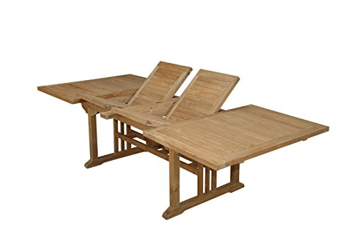 Anderson Teak Sahara Rectangular Double Extension Table, 106-Inch - Extension Teak Patio Table