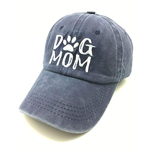 Waldeal Embroidered Dog Mom Vintage Washed Distressed Dad Hats Funny Mother's Day Dog Lovers Gift Navy