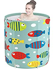 DAILYLIFE Portable Bathtub, Japanese Soaking Bath Tub for Shower Stall, Foldable Bathtub with Thermal Foam, Freestanding, Folding & Soaking Spa Bath Tub with Pillow for Small Spaces…