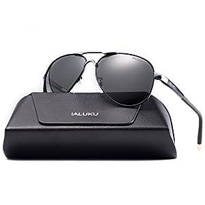IALUKU Aviator Polarized Sunglasses Metal Frame Pilot Glasses Men Women (Black/Grey, 58)