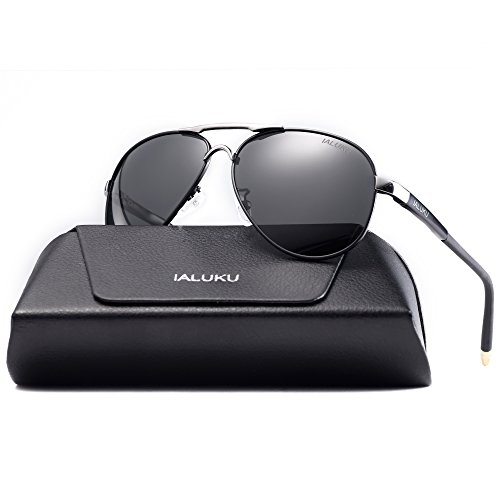 IALUKU Polarized Sunglasses Metal Frame Pilot Glasses Men Women (Black/Grey, 58)