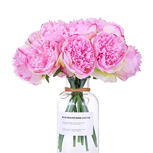 (Newest trent 1Bouquet 5 Heads Artificial Peony Silk Flower Leaf Home Bridal Wedding Party Festival Bar Decor)