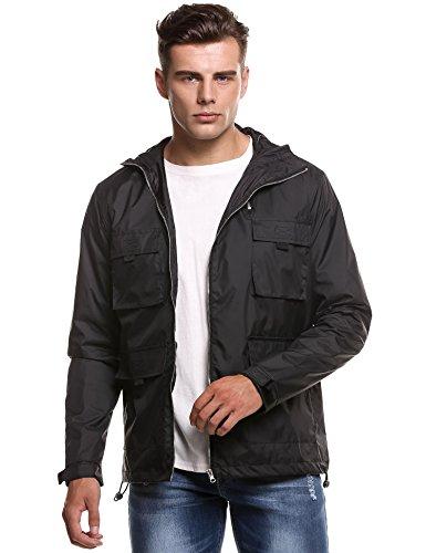 Men Lightweight Hooded Long Sleeve Asymmetrical Dual Zipper Waterproof Rain Coat Jacket (S, Black)