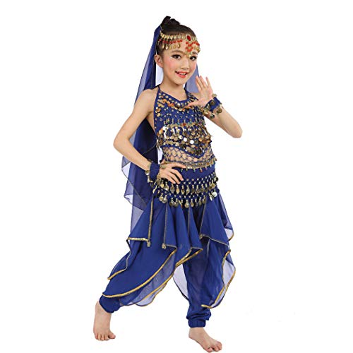 Maylong Girls Loose Pants Belly Dance Outfit Halloween Costume DW07 (Medium, Royal Blue)]()