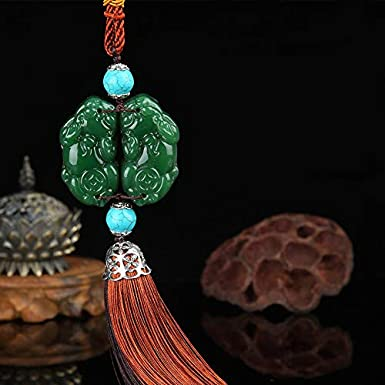 Dangling Ornaments Vehicle Accessory Rearview Mirror Charms Pendant Brave Troops Crystal Lotus Car Pendant Amulet Pray for Luck Safety Car Hanging Decoration A-White